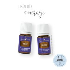 Liquid Courage   Essential Oil Recipe - Use several drops of Valor or Valor II on your wrists, chest, base of neck, or bottoms of feet to feel calm and empowered. I love using this in a diffuser necklace as well! (Valor tends to go out of stock from time to time due to seasonality of one of the oils, so Young Living created Valor II which can be used in its place.)
