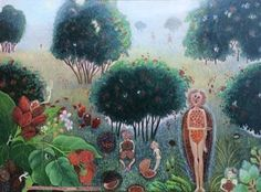 "Flora Langlois, THE ANNATTO'S COME OUT TO PLAY (BIXA ORELLANA), Acrylic on Panel, 12 x 16"", Tory Folliard Gallery"