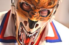 "Giles Gratton ""Lion"" mask New York Rangers Lion Mask, Goalie Mask, New York Rangers, Masks, Game, Gaming, Toy, Games, Face Masks"