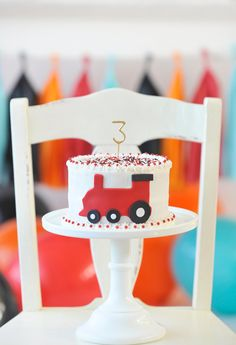 Train Birthday cake in a simple red fondant cut out.