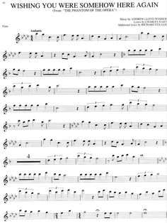 The Phantom of the Opera - free flute sheet music - OMG! I need to start playing musical instruments again. I love this song!