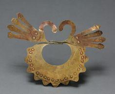 Mouth Mask, 100 BC-AD 700 Peru, South Coast, Nasca style (100 BC-AD 700)  hammered gold alloy