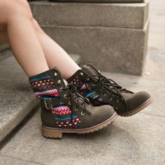 Belted Knit Panel Lace-Up Boots