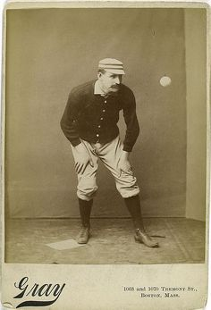 """""""Staring down a fastball pitch is not the popular pastime it once was...""""  - Photograph from the New York Public Library's Spalding Collection, a series of over 500 photographs, prints, drawings, caricatures, and printed illustrations donated in 1921 by early baseball player and sporting-goods tycoon A. G. Spalding (whose name to this day is printed across every ball used in the National League)."""