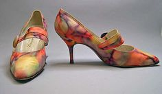 Pumps, Roger Vivier (French, 1913–1998): 1960's, French, silk and leather.