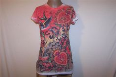 DOLCE MIA Sz M Tee Shirt Top Burnout Floral Bird Short Sleeves Sublimation Dye #DolceMia #KnitTop #Casual