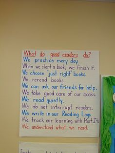 Anchor chart for what good readers do.