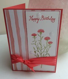 Flowers in pink for a birthday, stampin up Wild about Flowers.