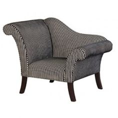 Modern Stripe Chaise Armchair - Buy from the French Furniture Specialist Bedroom Chair, Sofa Chair, Master Bedroom, Upholstered Chairs, Dream Bedroom, Bedroom Furniture, Couch, French Furniture, Shabby Chic Furniture