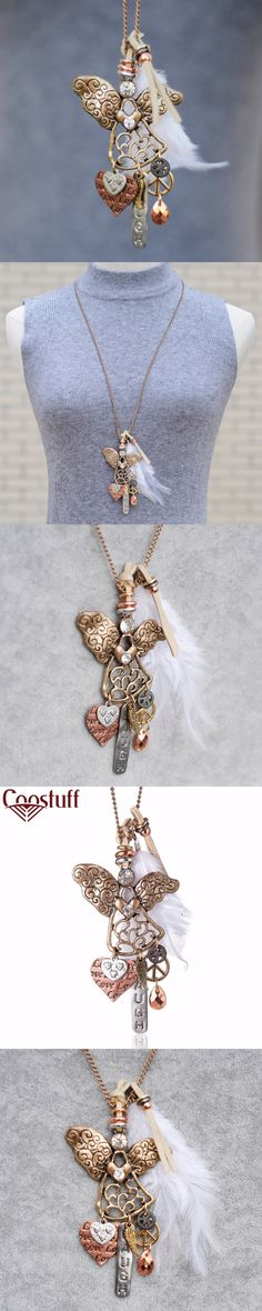 New Coming Vintage woman Necklaces jewelry Angel Feather statement necklaces & pendants Long necklace for women collares mujer