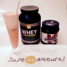 A shake a day keeps the weight gain away! Blend 1 scoop of JBN Whey Superior™ Strawberries & Cream with 2 scoops JBN Krank'd Body Fuel Cherry Limeade to refresh and energize any time of the day! #justbenatural #jbn #smoothie #healthy #weightloss #protein #easy #delicious !