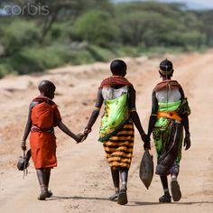 Samburu tribeswomen with boy in rural landscape, Kenya Rich Image, Music Licensing, Photo Library, Kenya, Royalty Free Images, Stock Photos, Landscape, Boys, People