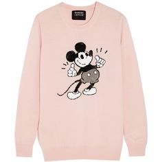 Markus Lupfer + Disney® Thumbs Up Vintage Mickey sequined merino wool... (1.685 RON) ❤ liked on Polyvore featuring tops, sweaters, shirts, pink, embellished sweater, pink sweater, vintage shirts, sequin shirt and merino wool sweater