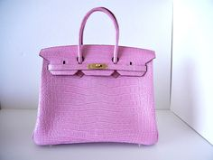 URBAN LEGEND pink limited Edition Matte pink Porosus Crocodile Gold hardware....AMAZZZZING available mightykismet ebay SOLD