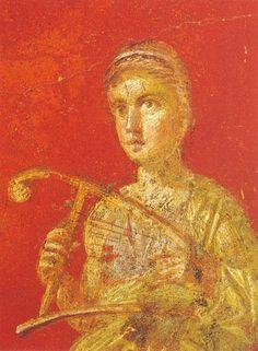 Pintura Pompeya. Terpsicore (musa dela danza) 70x51cm - Reproduccion de cuadros antiguos