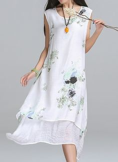Cotton Linen Floral Sleeveless High Low Casual Dresses (1036487) @ floryday.com