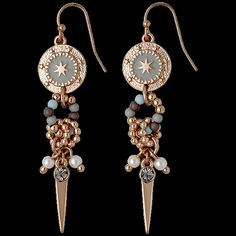 earrings, rose gold plated, mint