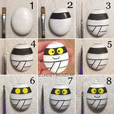 Mummy painted rock step by step how-to by Lindsey Bridges. Perfect Halloween des… Mummy painted rock step by step how-to by Lindsey Bridges. Halloween Rocks, Halloween Crafts For Kids, Halloween Design, Halloween Ideas, Halloween Skirt, Stone Crafts, Rock Crafts, Fall Crafts, Pebble Painting
