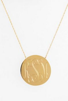 personalized monogramed gold necklace