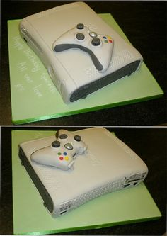 X Box 360 Cake Especially for all you gaming nuts.so that includes my husband and two children! A square cake carved to an x bo. X box 360 Birthday Cake 12th Birthday Cake, Birthday Cakes For Men, Birthday Ideas, Mini Cherry Cheesecakes, Xbox Cake, Slab Cake, Video Game Cakes, Cake Shapes, Square Cakes