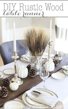 Monochromatic+DIY+Thanksgiving+Centerpiece+with+Gourds,+Wheat,+and+Pinecones