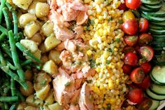 Hollys Salmon Salad.This is so good. Low calorie and healthy. I cook my salmon in the Forman grill, it cooks fast and tast like its been on the barbecue. This makes a great lunch or dinner.