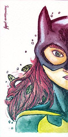 """""""Batgirl"""" fan art ilustración acuarelas con tinta sobre papel guarro grueso"""