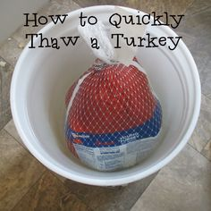 How to Quickly Thaw a Turkey, Safely. You can thaw a still frozen turkey even the night before Thanksgiving in a five gallon bucket of ice water. Thawing Frozen Turkey, Defrosting Turkey, Cooking A Frozen Turkey, Turkey Cooking Times, Whole Turkey, Turkey Time, Basting A Turkey, Turkey Tenderloin, Recipes