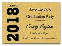 Graduation save the date cards graduation save the date shimmery shimmery goldnbspgraduation save the date cards let filmwisefo