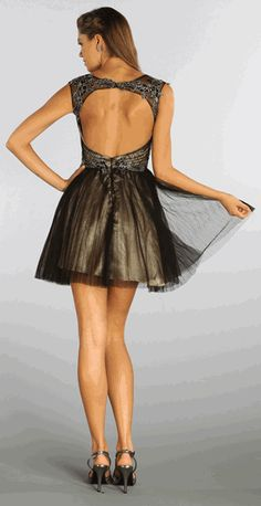 Sexy Open Back Homecoming Dress #homecomingdress #discountdressup #blackdresses