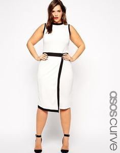 ASOS Curve Plus Size Textured Mono Dress with Asymmetric Hem - White/black