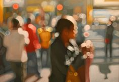 'Crossing' by Philip Barlow. Yes, that is a painting, not a an out-of-focus photograph. Facinated by light and its effects, Philip Barlow uses a unique style to create abstract forms which viewers can interpret for themselves. Summer Painting, City Painting, Artist Painting, Figure Painting, Painting Styles, Henri Matisse, Claudia Tremblay, Out Of Focus, Focus 3