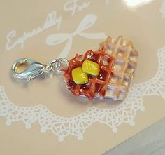 Waffle Heart Clay Bead Charm for Bracelet Necklace Zipper Food Jewelry clip on
