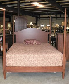 Cherry Shaker Pencil Post Bed by Colonial Furniture Primitive Bedroom, Primitive Furniture, Primitive Decor, Antique Furniture, Bedroom Furniture, Furniture Design, Bed Ideas, Decor Ideas, Cherry Furniture