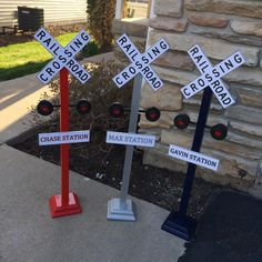 Personalized Railroad Crossing Train Sign - Train Birthday Party Decor by ElleryDesigns on Etsy https://www.etsy.com/listing/183196894/personalized-railroad-crossing-train