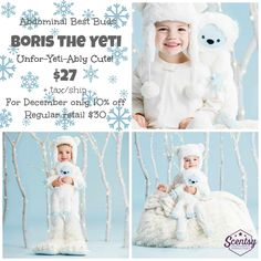 Guess who stomped down from the snowy peaks for the ultimate playdate? Boris the Yeti! He's dressed in his fuzzy best and ready for some serious snow day fun (even if it's from a cozy spot indoors). This is one creature feature you won't want to miss!  But don't delay! Boris is only available while supplies last, then he'll be gone for good and a new limited-edition Buddy will take his place. https://sensualscentsations.scentsy.us/?partyId=318547258