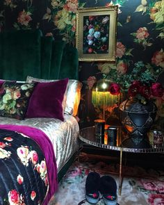 It's filled with dark paint colors, floral wallpaper, and lots of quirky decor. Jewel Tone Bedroom, Jewel Tone Decor, Jewel Tones, Jewel Colors, Living Colors, Eclectic Decor, Quirky Decor, Dark Interiors, Colorful Interiors