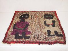 """0TH CENT. FOLKY FIGURAL HOOKED RUG W/ BLACK CHILDREN EATING WATERMELON SIGNED NGS (NANCY GERTRUDE SCOTT OF MAINE) (28"""" X 28"""") Sold for $300.00"""