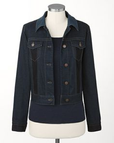 Colorblock jean jacket   Coldwater Creek