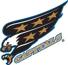 Washington Capitals Primary Logo - An eagle diving with claws out, team script beneath it Caps Hockey, Flyers Hockey, Ice Hockey Teams, Hockey Logos, Sports Team Logos, Hockey Goalie, Hockey Quotes, Hockey Stuff, Washington Capitals Logo