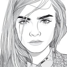 outline, drawing, and cara delevingne image