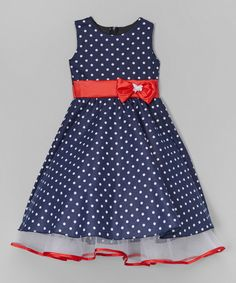 Look at this Navy Polka Dot A-Line Dress - Toddler & Girls on #zulily today!