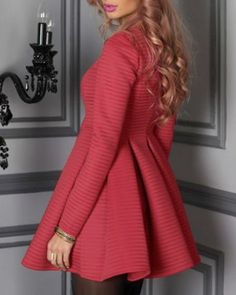 Graceful U Neck Long Sleeve Solid Color Zippered Women's Ball Gown Dress
