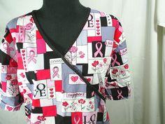 SB Scrubs 2XL Breat Cancer Ribbon Awareness Medical Top #SBScrubs