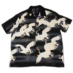 Many Japanese red-crowned cranes flying pattern Kimono Aloha Shirts. www.kimonoalohashirts.com