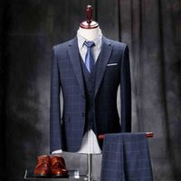 Mens Grooms Business Men Dress Suits With Pants Slim Fit Plaid Men Wdding Suit  Jacket Pants Vest YR01