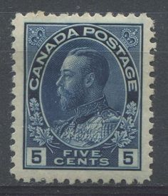 The 5c indigo Admiral issue. This was the first printing of the 5c value, which was issued on January 17, 1912 - 104 years ago. The 5c value was issued to pay postage on letters to England and Europe.