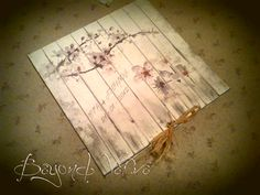 Country style wood and cherry blossom wedding invitation - Vintage Wedding stationery - Beyond Verve