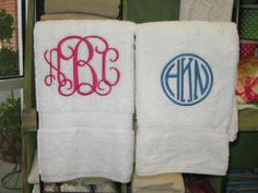 Monogrammed towels...I actually wanted to have these made as a wedding gift. Now I am thinking I want one for each kiddo!