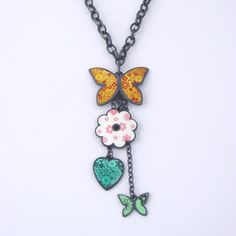 Jane Moore #Butterfly #Pendant with Charms (precious metal, enamel)